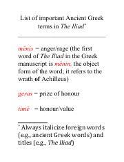 3 - Greek terminology pdf - List of important Ancient Greek