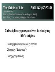 BIO 142 Lecture 13 - Dr. Freeland - The History of Life, The Origin of Life