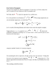 Free Particle Propagator notes