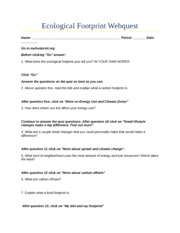 Printables Ecological Footprint Worksheet ecological footprint webquest name period