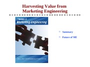 Principles - Ch8 - Harvesting Value from Marketing Engineering