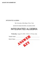 Integrated Algebra Practice Exam 6 with Answers