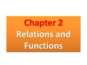 Chapter 2.1 Cartesian Coordinates System; Chapter 2.1 Relations