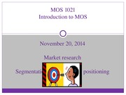 Lecture 8- Market Research & Segmentation, Targeting, and Positioning