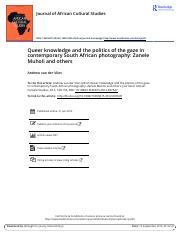 Queer knowledge and the politics of the gaze in contemporary South African photography Zanele Muholi