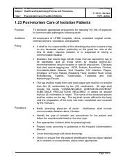 01.23 - Postmortem Care of Isolation Patients