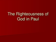 29_The Righteousness of God in Paul