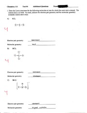 Chemistry Lewis Structures and Quantam Numbers Exam