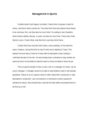 Management in Sports