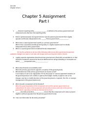 Chapter 5 Assignment Part I