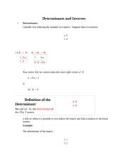 Determinants and Inverses
