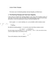 Lecture 4 Notes Polytopes