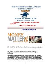 Political Science 2305 Notes for First Test on DO WE MATTER IN AMERICA Summer Session I 2018.doc