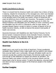 Health Care Reform in the U.S. Research Paper Starter - eNotes