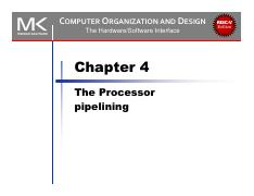 Slides 5 Chapter 4 1 Pdf Computer Organization And Design The Hardware Software Interface Chapter 4 The Processor Risc V Edition U00a74 1 Introduction Course Hero
