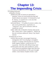 Chapter 13- The Impending Crisis