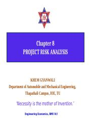 8. Project risk analysis
