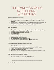 History 2125G Class Notes COLONIAL ECONOMIES