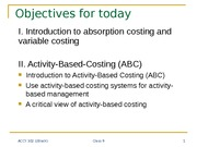 Absorption Costing and Variable Costing Lecture