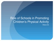 Role of Schools in PA Promotion