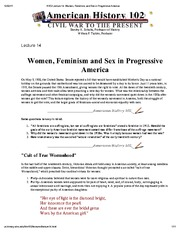 H102 Lecture 14_ Women, Feminism, and Sex in Progressive America