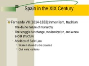 "PRESENTACIÃ""N Spain in the XIX Century"