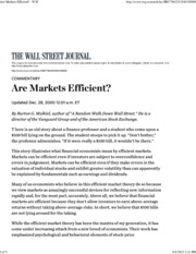 WSJ - Are Markets Efficient-Yes Even If They Make Errors