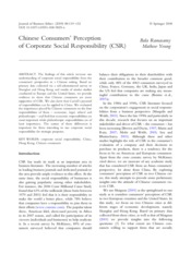 chinese consumers' perceptionof corporate social responsibility Chinese consumers' perception of corporate social responsibility (csr) bala ramasamy mathew yeung abstract the findings of this article increase our.