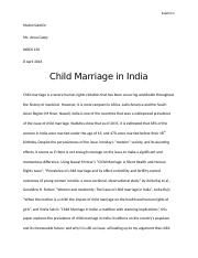An essay on child marriage in india