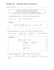 MATH 115 Fall 2013 Exam 2 Review Solutions