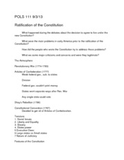 POLS 111 Ratification of the Constitution Notes