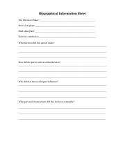 biographical information sheet