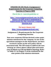 STRAYER CIS 505 Week 3 Assignment 2 Requirements for the Corporate Computing Function.doc