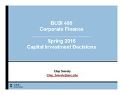 BUSI 408 - Capital Investment Decisions