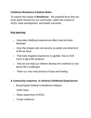 Childrens Resilience Initiative Notes