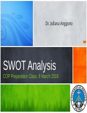 CLASS 3_ 9 MAR 18_SWOT ANALYSIS for COP class 9 March 2018