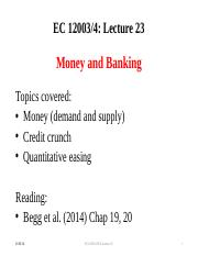 Lecture 23 Money and Banking