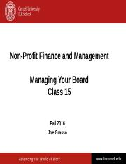 NPFM -Class 15 - Governance - Managing Your Board - Fall 2016.ppt