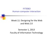 FIT3063-4063 S12013 Lecture 11 - Designing for the Web and Web 2