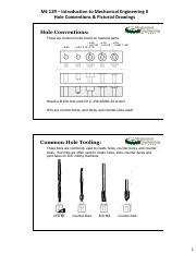 Hole Conventions & Pictorial Drawings Handout