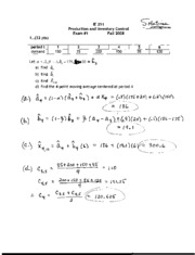 IE 251 Exam 1 Solution Fall 2008