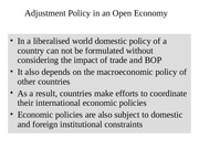 Adjustment Policy in Open Economy