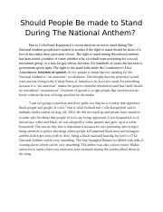 Should People Be made to Stand During The National Anthem.docx
