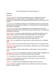 Consumer Behavior Test 1 Review Chapters 1