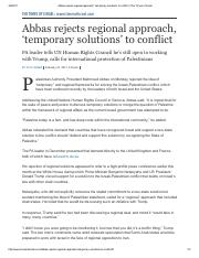 Dov Liber-Abbas rejects regional approach temporray solutions to conflict-Feb 2017