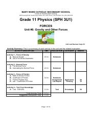 Unit 6 Gravity and Other Forces