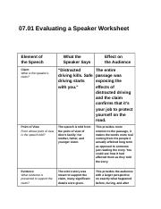 10.10EvaluatingASpeakerWorksheetEnglishlll (10) - 100.10 Evaluating a