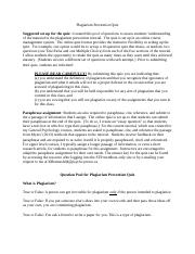 Plagiarism Prevention Quiz Questions (1)