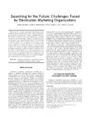 Searching for the Future- Challenges Faced by Destination Marketing Organizations