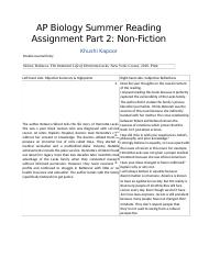 AP Biology Summer Reading Assignment Part 2 Non-Fiction.docx
